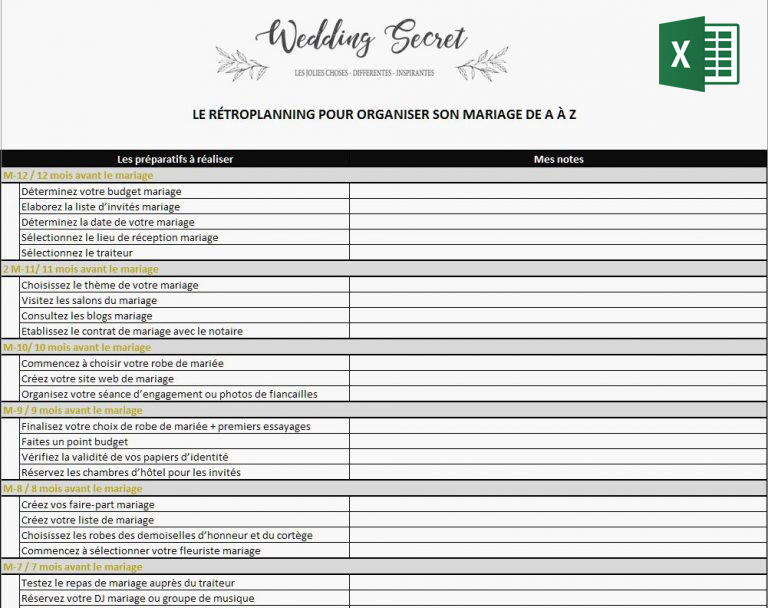 organisation mariage xls
